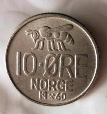 1960 NORWAY 10 ORE - AU Collectible Coin - FREE SHIP - Norway Bin BB