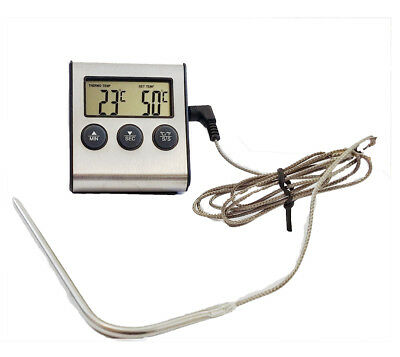 New Silver Color Digital Oven/Cooking Thermometer with High Alarm