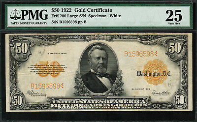 1922 $50 Gold Certificate FR-1200 - Graded PMG 25 - Very Fine