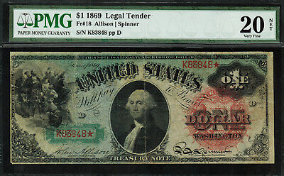 "1869 $1 Legal Tender FR-18 - ""RAINBOW"" - PMG 20 NET - Very Fine"