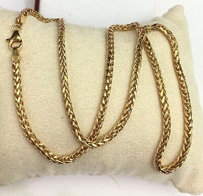 """18k Solid Yellow Gold Unisex Wheat Chain/Necklace Dimond Cut. 22"""". 7.35Grams"""