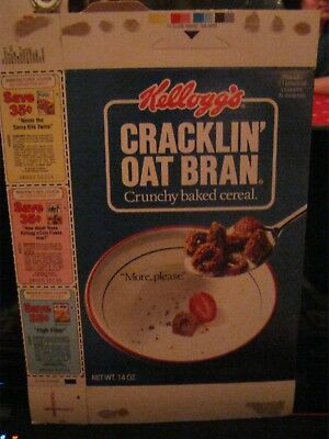 1988 Kelloggs Cracklin Oat Bran Cereal Box Old Vintage  !
