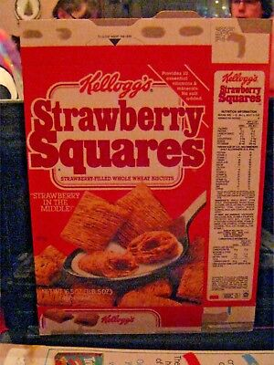 1987 Kelloggs Strawberry Squares Cereal Box Old Vintage  !