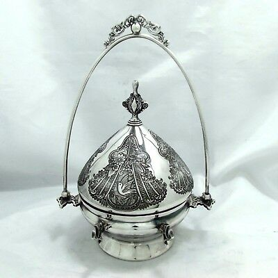 1875 Eastlake Victorian Chased Ornate Wilcox Silverplate Co. Meriden Dome Butter