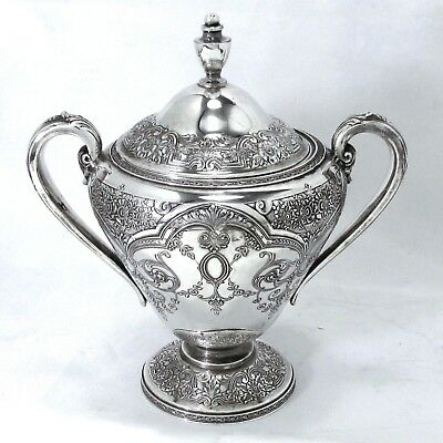 1921 Vintage Deco Paisley Chased Ornate Wilcox Sp Co. Lg Tea Caddy Sugar Urn