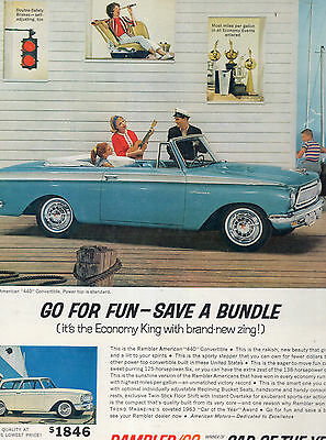 1963 Rambler Convertible Car Full Page Magazine Ad-In Plastic Sleeve-Vintage