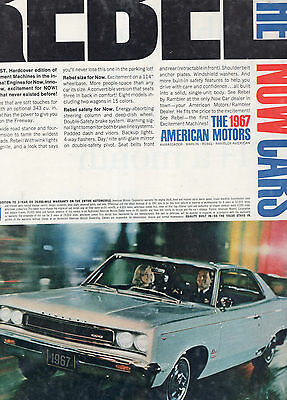 1967 Rambler Rebel Sst Car Full Page Magazine Ad-In Plastic Sleeve-Vintage