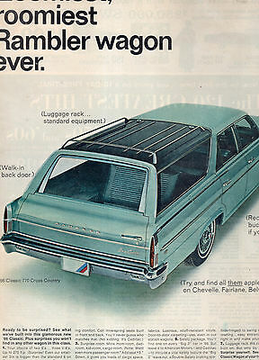 1966 Rambler 770 Cross Country Full Page Magazine Ad-In Plastic Sleeve-Vintage