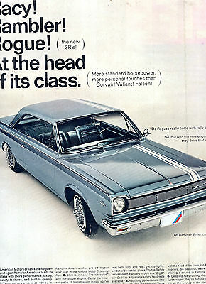 1966 Rambler American Rogue Car Full Page Magazine Ad-In Plastic Sleeve-Vintage