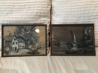Lot of 2 Antique Charcoal Drawings 9X12 Framed Free Priority Shipping