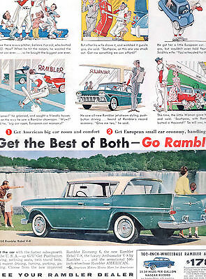 1958 Rambler Rebel Car Full Page Magazine Ad-In Plastic Sleeve-Vintage