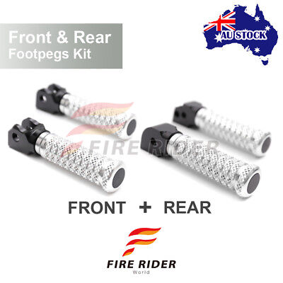 For GT 1000 /Touring All Year Front + Rear Pair Silver CNC Pole Footpegs