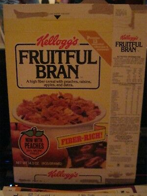 1985 Kelloggs Fruitful Bran With Peaches Cereal Box Old Vintage  !
