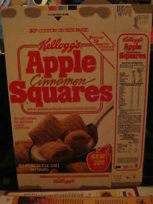 1986 Kelloggs Apple Cinnamon Squares New  Box K00090A Cereal Box Old Vintage  !