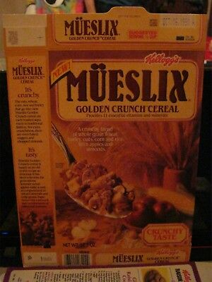 1989 Kelloggs Mueslix Golden Crunch New First Cereal Box K0820A Old Vintage  !