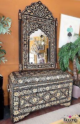 1605-101 Large Moroccan Entry Chest and Mirror with Coral and Inlaid Bone