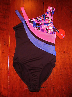 NWT Boutique Freestyle By Danskin Girl Sz L 10/12 Black Multi Gymnastics Leotard