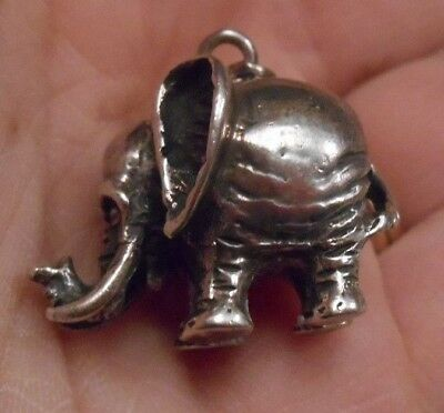 Heavy VINTAGE 3D Solid Sterling Silver 925 ELEPHANT Charm Pendant GOOD LUCK 12g