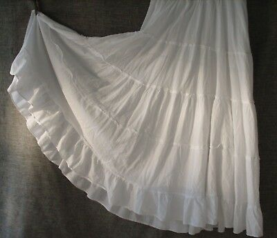 Motherhood Maternity Maxi Tiered Skirt Stretch Belly Panel Medium Long White