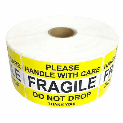 "PREMIUM Fragile Stickers Handle With Care Yellow DO NOT DROP Label 2"" x 3"" Label"