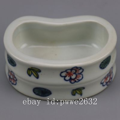 Chinese old  porcelain famille rose glaze flower  pattern writing brush washer Z