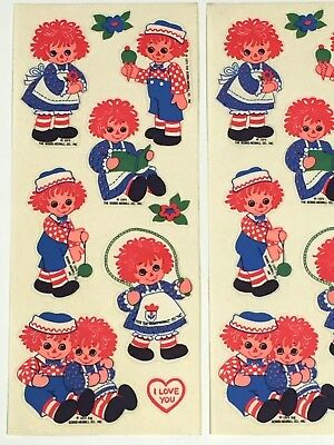 Vintage 1974 RAGGEDY ANN & ANDY Stickers - The Bobbs-Merrill Co.