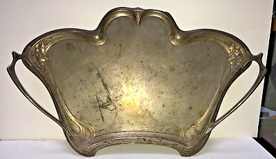 Beautiful Antique Art Nouveau Silver Plate Serving Tray