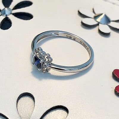 A Sapphire & Diamonds Encrusted 18K Solid White Gold Ring