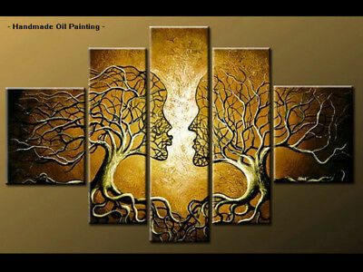 Large Framed Wall Art Modern Abstract Tree Oil Painting Handmade on Canvas Decor
