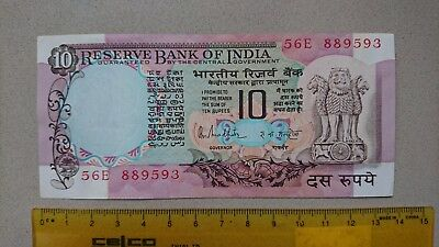 Genuine 1985-90 Indian Rupee 10 Bank Note Unc