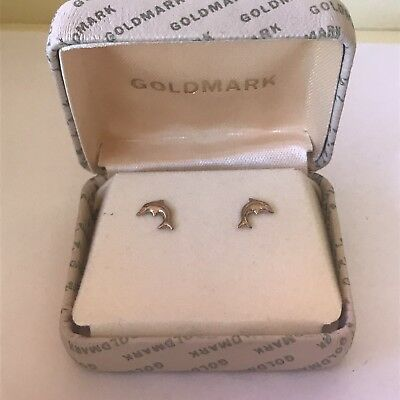 Old Goldmark Gold Dolphin Earrings In Box With Backs Very Cute Great Condition