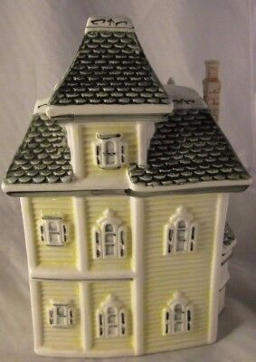 "Victorian House Cookie Jar Canister PORCLEAIN POTTERY HEAVY DUTY 10 "" HIGH YELL"