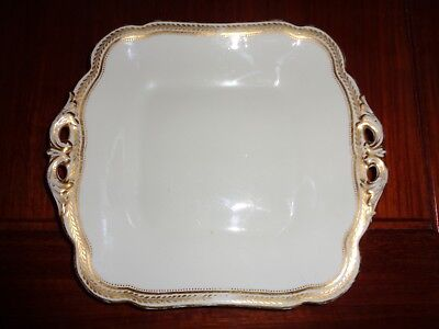Crescent & Sons England Pattern 20501 White With Gold Trim Cake Biscuit Plate