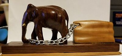 Hand Carved Wooden Indian Elephant -Chain Pulling Log
