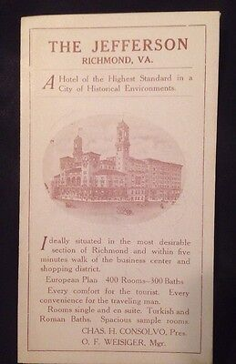 Antique The Jefferson Hotel Richmond Virginia Advertisement Guide Map Vintage