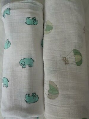 ADEN and ANAIS two Cotton Muslin Swaddle Blankets elephant and turtle
