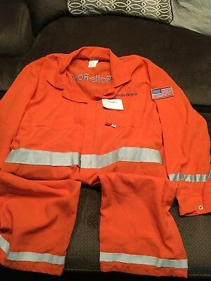 FR Fire Resistant Retardant  Nomex Coveralls 2XL-T-Rolls-Royce w/US flag Patch