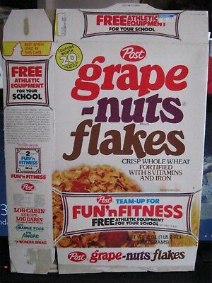 1979 Post Grape Nut Flakes  Cereal Box Old Vintage Bob Griese Dolphins Offer !