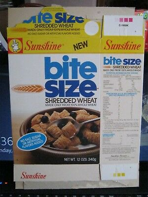 1970's Sunshine Bite Size Shredded Wheat  Cereal Box Old Vintage  !