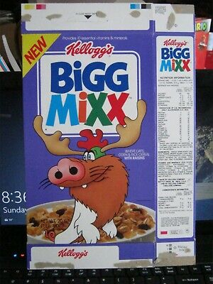1990 Kelloggs Bigg Mixx With Raisins  Cereal Box Old New Vintage  !