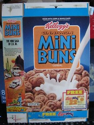 1991 Kelloggs Cinnamon Mini Buns  Cereal Box Old Vintage Eggo Minis  !