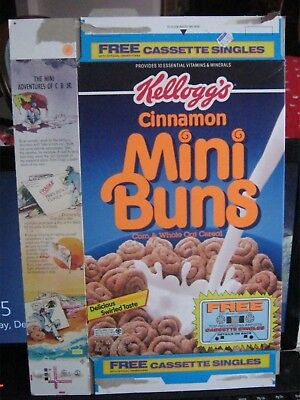 1992 Kelloggs Cinnamon Mini Buns  Cereal Box Old Vintage Cassette Offer !
