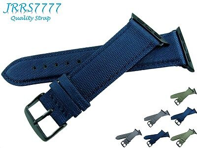 38mm Apple Watch Band Nylon Navy Blue Fashion Series 1 2 3 Black Buckle Adapter