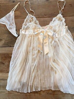 Ivory LARGE Victoria's Secret VERY SEXY PLEATED CHIFFON BABYDOLL  Nwot BRIDAL
