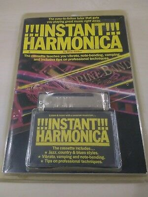 vintage instant harmaonica and tutor book and cassette tape