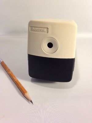Boston Electric Pencil Sharpener Model 19 Made in USA Beige Works Well 296A