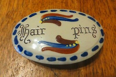 Very Rare Longpark Torquay Pottery Scandy Design Hair Pins Dressing Table Piece