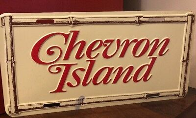 Vintage CHEVRON ISLAND License Plate Gas Station Oil Sign Advertising NOS