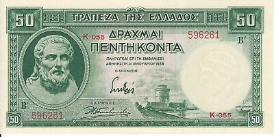 Greece, 1939 50 Drachmas P107  ((Au))