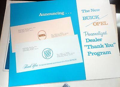 1971 Buick Opel Deal Personalized New Owner Thank You Program: Still in envelope